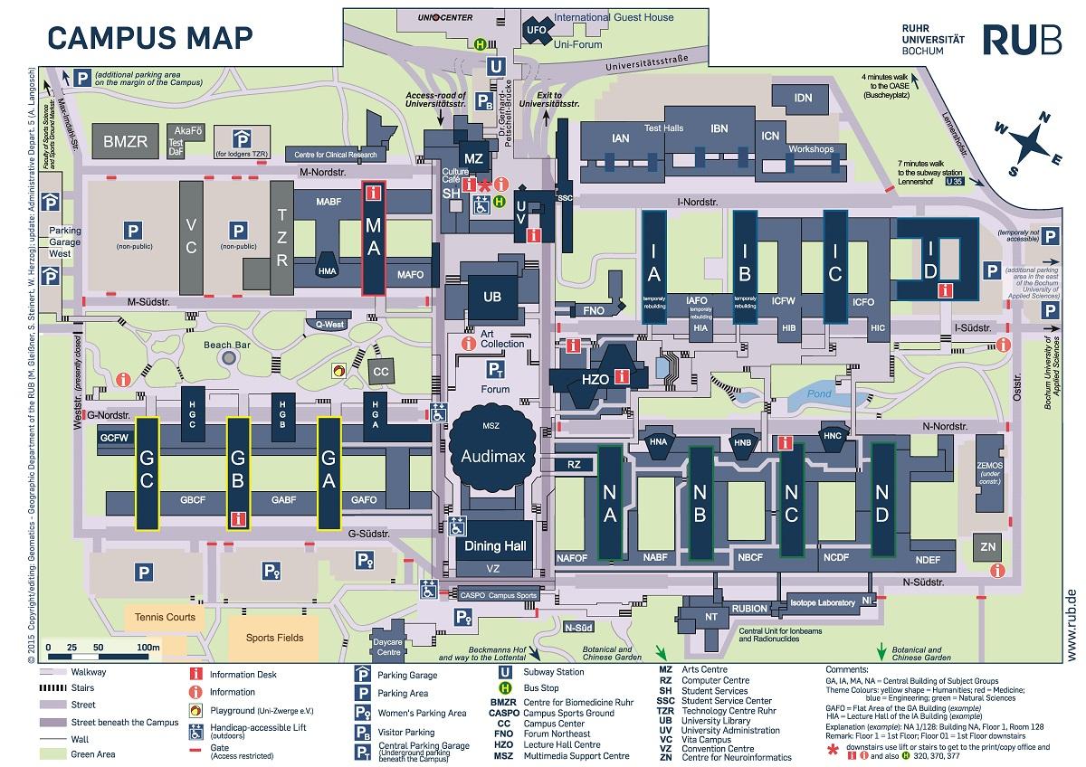 venue campus map. rub map how to reach us by bike ruhr universität bochum rub